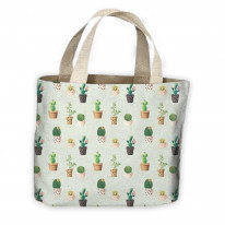 Cactus Blue Pattern All Over Tote Shopping Bag For Life