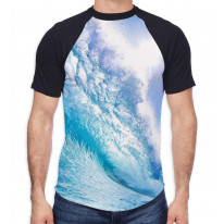Waves Breaking Seascape Men's All Over Graphic Contrast Baseball T Shirt