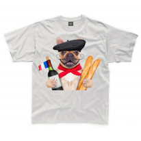 French Bulldog With Wine and Baguette Kids Childrens T-Shirt