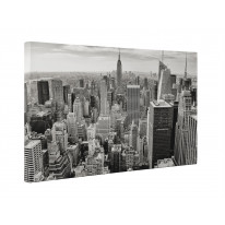 New York Skyline Black and White Box Canvas Print Wall Art - Choice of Sizes