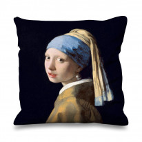 Johannes Vermeer Girl with Pearl Earring Faux Silk 45cm x 45cm Sofa Cushion
