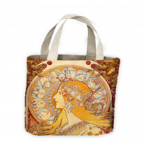 Alphonse Mucha Zodiac Tote Shopping Bag For Life
