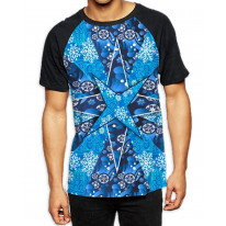 Abstract Christmas Snowflake Men's All Over Print Graphic Contrast Baseball T Shirt