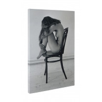 Female Nude on Chair Black and White Box Canvas Print Wall Art - Choice of Sizes