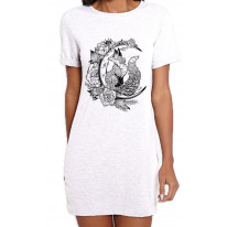Fox With Crescent Moon Hipster Tattoo Large Print Women's T-Shirt Dress