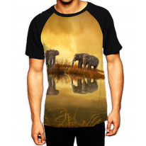 Elephant's Reflection in Water Men's All Over Graphic Contrast Baseball T Shirt