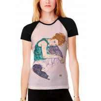 Egon Schiele The Seated Woman Women's All Over Graphic Contrast Baseball T Shirt