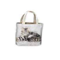Sleeping Cat Drawing Tote Shopping Bag For Life