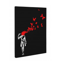 Banksy Butterfly Suicide Box Canvas Print Wall Art - Choice of Sizes