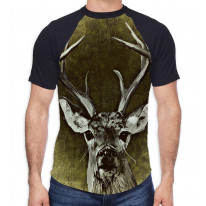 Shabby Chic Stag Men's All Over Graphic Contrast Baseball T Shirt