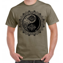 Yin and Yang Mandala Hipster Tattoo Large Print Men's T-Shirt