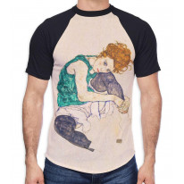 Egon Schiele The Seated Woman Men's All Over Graphic Contrast Baseball T Shirt