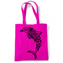 Tribal Dolphin Tattoo Large Print Tote Shoulder Shopping Bag