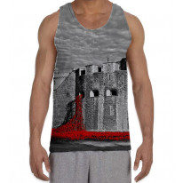 Tower of London Poppies Black and White Men's All Over Graphic Vest Tank Top