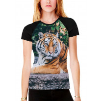Tiger Lay Down in Woods Women's All Over Graphic Contrast Baseball T Shirt