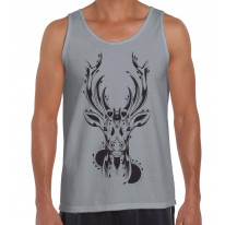 Tribal Stags Head Large Print Men's Vest Tank Top