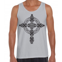 Celtic Cross Tattoo Style Hipster Large Print Men's Vest Tank Top