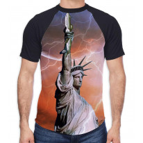 Statue of Liberty with Lightning Men's All Over Graphic Contrast Baseball T Shirt