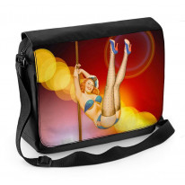 Vintage Burlesque Dancer Laptop Messenger Bag