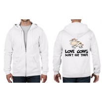 Love Cows Don't Eat Them Vegetarian Zip Hoodie