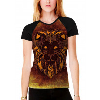 Tribal Lion Face Orange Women's All Over Graphic Contrast Baseball T Shirt