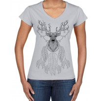 Dreamcatcher With Stags Head Hipster Large Print V Neck Women's T-Shirt