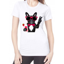 French Bulldog With Cocktail Smoothie Women's T-Shirt