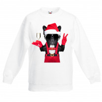 French Bulldog Santa Claus Style Father Christmas Kids Sweater \ Jumper