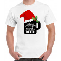 Its The Most Wonderful Time For a Beer Christmas Funny Men's T-Shirt