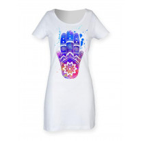 Hamsa Hand of Fatima Colour Splash Large Print Women's Short Sleeve T-Shirt Dress