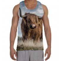 Highland Cattle Standing in Field Men's All Over Graphic Vest Tank Top