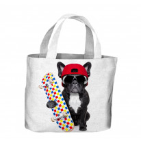 French Bulldog Skateboarder Tote Shopping Bag For Life