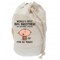 Worlds Best Big Brother Men's 60th Birthday Present Duffle Backpack Bag