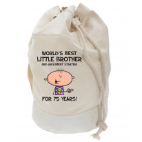 Worlds Best Little Brother Men's 75th Birthday Present Duffle Backpack Bag