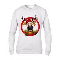 Rudolph Reindeer With Baubles Christmas Women's Jumper \ Sweater