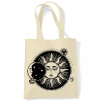 Sun and Moon Eclipse Hipster Tattoo Large Print Tote Shoulder Shopping Bag