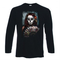 Day Of The Dead Girl With Fan Long Sleeve T-Shirt