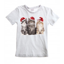 Three Christmas Kittens with Santa Hats Cute Childrens Kids T-Shirt
