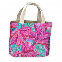Tropical Leaves Pink Pattern All Over Tote Shopping Bag For Life