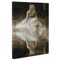 Women in Forest with Reflection in a Lake Box Canvas Print Wall Art - Choice of Sizes