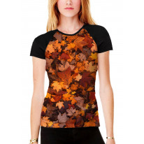 Autumn Leaves on Floor Women's All Over Graphic Contrast Baseball T Shirt