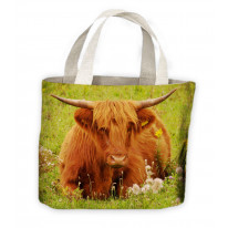 Highland Cattle Tote Shopping Bag For Life