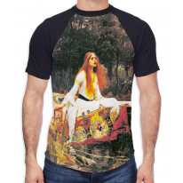 John William Waterhouse The Lady of Shalott Men's All Over Graphic Contrast Baseball T Shirt
