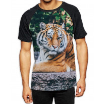 Tiger Lay Down in Woods Men's All Over Graphic Contrast Baseball T Shirt
