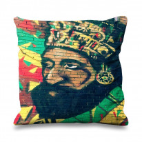 Heile Selassie Graffiti Street Art Faux Silk 45cm x 45cm Sofa Cushion