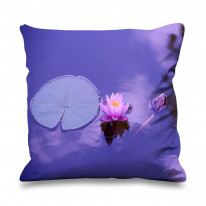 Lotus Water Lily Purple Background Faux Silk 45cm x 45cm Sofa Cushion