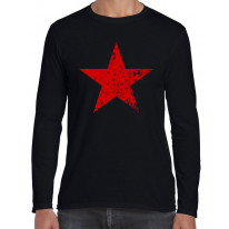 Red Communist Star Cuba Men's Long Sleeve T-Shirt
