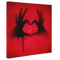 Love Heart Symbol with Hands Box Canvas Print Wall Art - Choice of Sizes