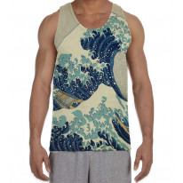 Katsushika Hokusai The Great Wave Kanagawa Men's All Over Graphic Vest Tank Top
