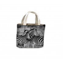 Three Zebra's Heads Tote Shopping Bag For Life